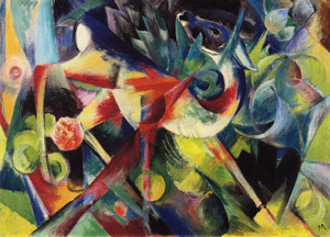 Art Prints of Deer in Flower Garden by Franz Marc