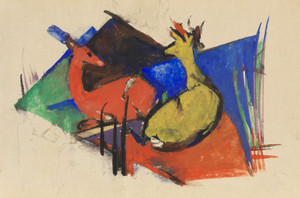 Art Prints of Two Deer Lying Down by Franz Marc
