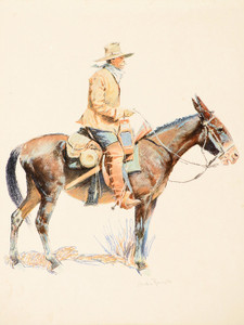 Art Prints of Army Packer and Mule by Frederic Remington