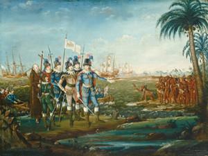 Art Prints of First Landing of Christopher Columbus by Frederick Kemmelmeyer