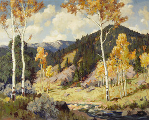 Art Prints of Aspens, Santa Fe Canyon by Fremont Ellis
