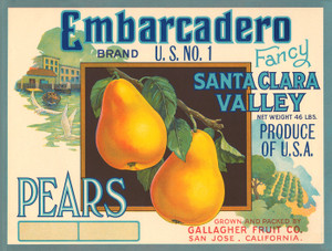 Art Prints of 006 Embarcadero Pears, Fruit Crate Labels