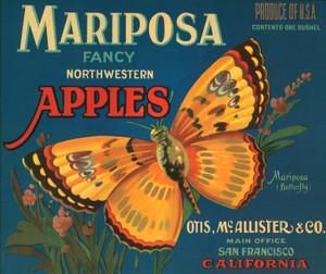 001 Mariposa Apples, Fruit Crate Labels | Fine Art Print