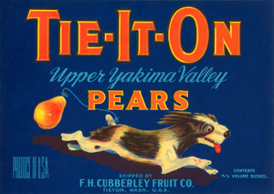 Art Prints of 013 Tie-It-On Pears, Fruit Crate Labels
