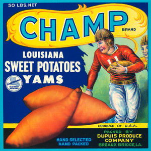 Art Prints of Champ Louisiana Yams Graphic Print from the 1950s. Perfect for the kitchen.012 Champ louisiana Sweet Potatoes, Fruit Crate Labels