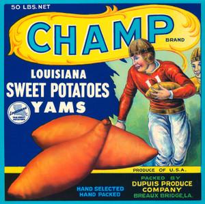 012 Champ louisiana Sweet Potatoes, Fruit Crate Labels | Fine Art Print