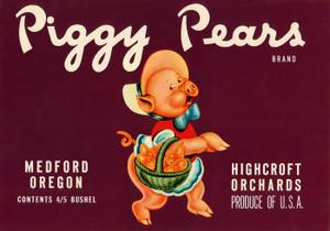 Art Prints of 022 Piggy Pears, Fruit Crate Labels