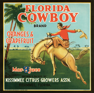 Art Prints of |Art Prints of 068 Florida Cowboy Oranges and Grapefruit, Fruit Crate Labels