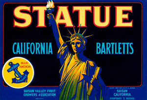 Art Prints of |Art Prints of 089 Statue California Bartletts, Fruit Crate Labels