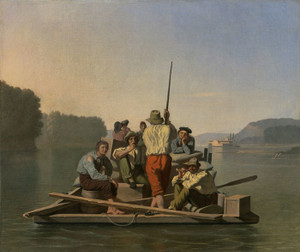 Art Prints of Lighter Relieving a Steamboat Aground by George Caleb Bingham
