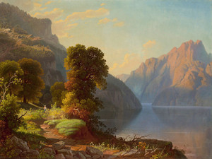 Art Prints of A View of a Lake in the Mountains by George Caleb Bingham