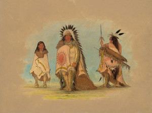 Art Prints of A Sioux Chief His Daughter and a Warrior by George Catlin