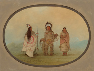 A Crow Chief a Warrior and His Wife by George Catlin | Fine Art Print