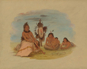 Art Prints of An Aged Minatarree Chief and His Family by George Catlin