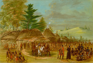 Art Prints of Chief of the Taensa Indians Receiving La Salle by George Catlin