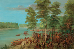 Art Prints of La Salle Taking Possession of the Land by George Catlin