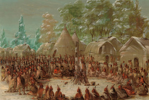 Art Prints of La Salle's Party in the Illinois Village, 1680 by George Catlin
