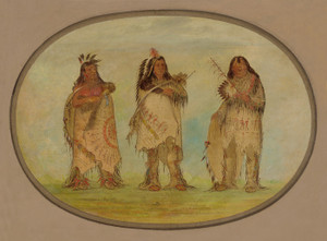 Art Prints of Three Distinguished Warriors of the Sioux Tribe by George Catlin