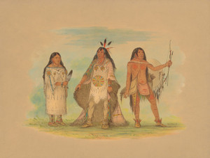Art Prints of Three Minatarree Indians by George Catlin