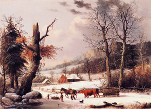 Art Prints of Gathering Wood for Winter by George Henry Durrie