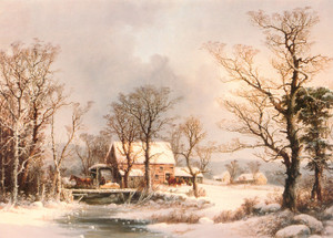 Art Prints of Winter in the Country, the Old Grist Mill by George Henry Durrie