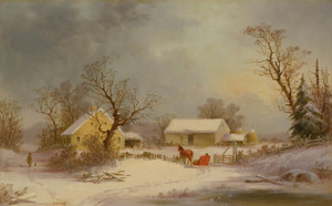 Art Prints of Winter, Time on the Farm by George Henry Durrie