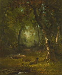 Art Prints of Landscape with Huntsman by George Inness