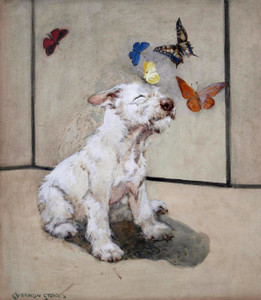 Art Prints of White Terrier and Butterflies by George Vernon Stokes