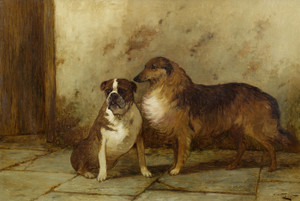 Art Prints of Collie and a Bulldog by George Wright