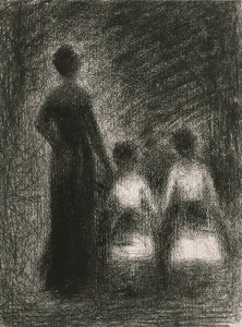 Art Prints of Femme Avec Deux Fillettes by Georges Seurat