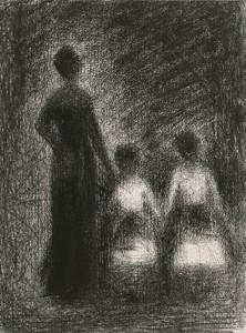 Art Prints of Femme Avec Deux Fillettes by Georges Seurat