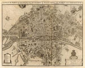 Art Prints of Paris, 1742 (4638017) by Guillaume de Lisle and Covens et Mortier