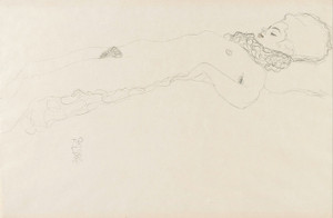 Art Prints of Naked Girl with Ruff Lying by Gustav Klimt