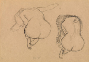 Art Prints of Two Studies of a Seated Nude with Long Hair by Gustav Klimt