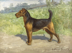 Art Prints of A Welsh Terrier in a Landscape by Gustav Muss-Arnolt