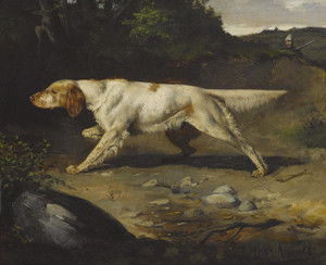 Art Prints of Setter on Point with Hunter in the Background by Gustav Muss-Arnolt