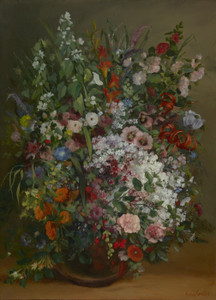 Art Prints of Bouquet of Flowers in a Vase by Gustave Courbet