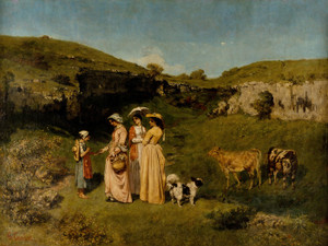 Art Prints of Young Woman of the Village by Gustave Courbet