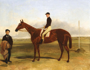 A Bay Racehorse with Jockey Up by Harry Hall | Fine Art Print