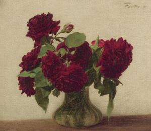 Art Prints of Deep Red Roses by Henri Fantin-Latour