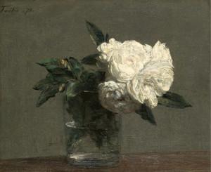 Art Prints of White Roses by Henri Fantin-Latour