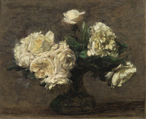 Art Prints of Yellow Rose in a Vase by Henri Fantin-Latour