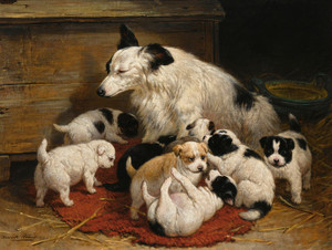 Art Prints of A Dog and Her Puppies by Henriette Ronner Knip