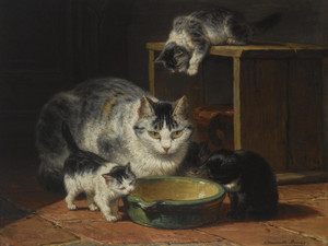 Art Prints of A Mother Cat and Two Kittens in a Kitchen by Henriette Ronner Knip
