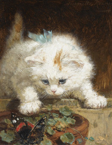 Art Prints of A Kitten Chasing a Butterfly by Henriette Ronner Knip