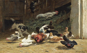 Art Prints of Puppy Chasing Chickens and Cat in a Farm Yard by Henriette Ronner Knip