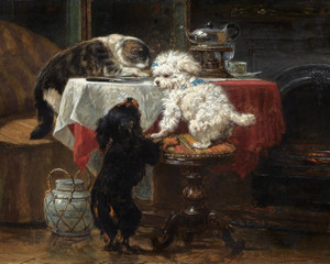 Art Prints of Dinner Time by Henriette Ronner Knip