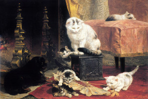 Art Prints of Kittens under the Watchful Eye of a Spaniel by Henriette Ronner Knip