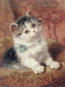 Art Prints of The Blue Bow by Henriette Ronner Knip