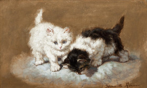 Art Prints of Two Kittens on a Pillow by Henriette Ronner Knip